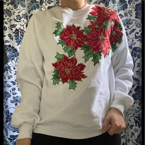 🎀 Vtg 90s Poinsettia Christmas Sweatshirt
